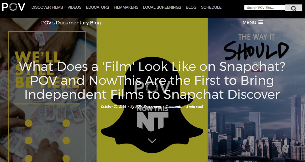 POV's snapchat documentary home screen