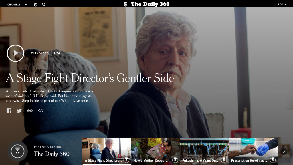 NewYork Times' Daily 360 homepage